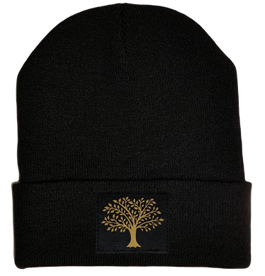 Celtic Beanie - Black cuffed w, Black and Gold Hand Made Tree of Life, Vegan Leather patch over your Third Eye buddha gear