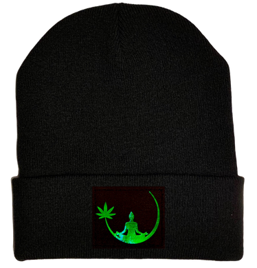 Beanie - Black with Hand Made Holographic Green, Vegan Leather Zen Buddha Cannabis Leaf Patch over your Third Eye - Plant Medicine Hat buddha gear