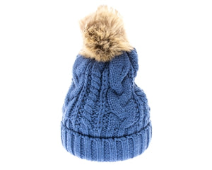 Blue Fur pom cable knit beanie hats.  Cozy plush lining Detachable snap-on faux fur pom Super warm Buddha Beanies By Buddha Gear. Also available with Namaste, Lotus, Om, Unicorn, Tree of Life, Compass, Infinite Heart, Moons and Phoenix patches