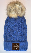 Load image into Gallery viewer, Buddha Wear Plush Blue, Blanket Lined Cable Knit, Pom Pom Beanie with Unicorn, Om, Phoenix, Namaste, Lotus, Tree of Life, Moons, Infinite Heart or Cristian Fish/ichthus Buddha Gear Buddha Beanies