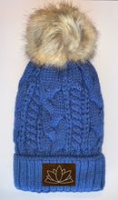 Load image into Gallery viewer, Buddha Wear Buddha Gear Plush Blue, Blanket Lined Cable Knit, Pom Pom Beanie with Unicorn, Om, Phoenix, Namaste, Lotus, Tree of Life, Moons, Infinite Heart or Cristian Fish/ichthus Buddha Beanies