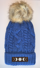 Load image into Gallery viewer, Buddha Beanies Buddha Wear Buddha Gear Plush Blue, Blanket Lined Cable Knit, Pom Pom Beanie with Unicorn, Om, Phoenix, Namaste, Lotus, Tree of Life, Moons, Infinite Heart or Cristian Fish/ichthus