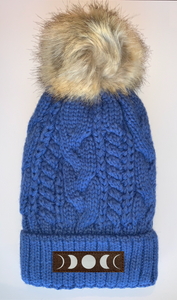 Buddha Beanies Buddha Wear Buddha Gear Plush Blue, Blanket Lined Cable Knit, Pom Pom Beanie with Unicorn, Om, Phoenix, Namaste, Lotus, Tree of Life, Moons, Infinite Heart or Cristian Fish/ichthus
