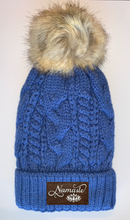 Load image into Gallery viewer, Buddha Wear Plush Blue, Blanket Lined Cable Knit, Pom Pom Beanie with Unicorn, Om, Phoenix, Namaste, Lotus, Tree of Life, Moons, Infinite Heart or Cristian Fish/ichthus Buddha Beanies Buddha Gear