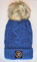 Load image into Gallery viewer, Plush Blue, Blanket Lined Cable Knit, Pom Pom Beanie with Unicorn, Om, Phoenix, Namaste, Lotus, Tree of Life, Moons, Infinite Heart or Cristian Fish/ichthus Buddha beanies Buddha Wear Buddha Gear
