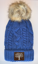 Load image into Gallery viewer, Beanies - Plush Blue, Blanket Lined Cable Knit, Pom Pom Beanie with Unicorn, Om, Phoenix, Compass, Namaste, Lotus, Tree of Life, Moons, Infinite Heart or Cristian Fish/ichthus