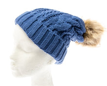 Load image into Gallery viewer, Blue Fur pom pom cable knit beanie hats.  Cozy plush lining Detachable snap-on faux fur pom Super warm Buddha Beanies By Buddha Gear. Also available with Namaste, Lotus, Om, Unicorn, Tree of Life, Compass, Infinite Heart, Moons and Phoenix patches