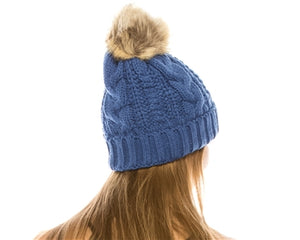 Blue Fur pom pom cable knit beanie hats.  Cozy plush lining Detachable snap-on faux fur pom Super warm Buddha Beanies By Buddha Gear, Also available with Namaste, Lotus, Om, Unicorn, Tree of Life, Compass, Infinite Heart, Moons and Phoenix patches