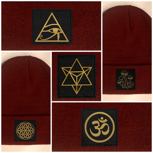 Buddha Gear Yoga wear Burgundy Buddha Beanie w Handmade Cannabis, Flower of Life, Merkaba, Om, Eye of Horus, Mushrooms, Compass, Yin Yang Sun, Tree of Life, Triquetra, Ganesha, 420, Moons, Butterfly Patch over your Third Eye Skater hat