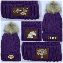Load image into Gallery viewer, Purple Plush Pom Pom Beanie with Unicorn, Om, Phoenix, Namaste, Lotus, Tree of Life, Moons, Infinite Heart or Cristian Fish ichthus Buddha gear Buddha Beanies Buddha wear
