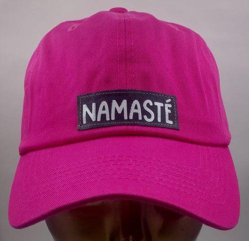 Buddha Gear Buddha Lids Hot pink flexible dad hat  Namaste - Why can't we all just get along???