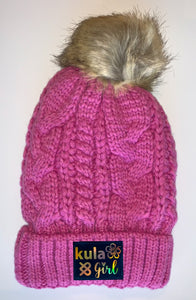 Pink Plush Pom Pom Beanies by Buddha Gear and Kula Brands