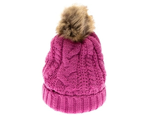 Dark Pink Fur pom cable knit beanie hats.  Cozy plush lining Detachable snap-on faux fur pom Super warm Buddha Beanies By Buddha Gear. Also available with Namaste, Lotus, Om, Unicorn, Tree of Life, Compass, Infinite Heart, Moons and Phoenix patches