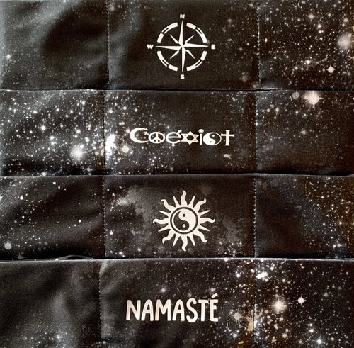 Hand Made Black Cosmo Buddha Band with Compass, Coexist, Yin Yang Sun, Namaste over your third eye  Om is a sacred sound and a sacred spiritual symbol in Hinduism, that signifies the essence of the ultimate reality, consciousness or Atman (soul). Some believe it is the sound of creation.