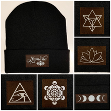Load image into Gallery viewer, Beanie - Black, cuffed Beanie with Merkaba, Unicorn, Om, Phoenix, Namaste, Lotus, Tree of Life, Moons, Infinite Heart, Cristian Fish/ichthus and more