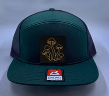 Load image into Gallery viewer, Psychedelic Hat Green 4 Panel Flatbill Buddha Lid w Handmade Cannabis, Flower of Life, Merkaba, Om, Eye of Horus, Mushrooms, Compass, Yin Yang Sun, Tree of Life, Triquetra, Ganesha Patch over your Third Eye Skater Hat