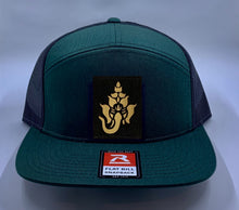 Load image into Gallery viewer, Skater Hat Green 4 Panel Flatbill Buddha Lid w Handmade Cannabis, Flower of Life, Merkaba, Om, Eye of Horus, Mushrooms, Compass, Yin Yang Sun, Tree of Life, Triquetra, Ganesha Patch over your Third Eye Buddha Gear