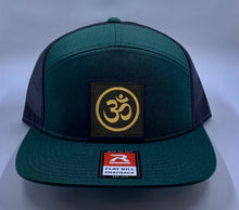 Load image into Gallery viewer, Skater Hat Green 4 Panel Flatbill Buddha Lid w Handmade Cannabis, Flower of Life, Merkaba, Om, Eye of Horus, Mushrooms, Compass, Yin Yang Sun, Tree of Life, Triquetra, Ganesha Patch over your Third Eye Yoga Buddha Gear