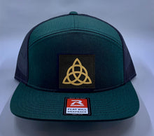 Load image into Gallery viewer, Buddha Gear Skater Hat Green 4 Panel Flatbill Buddha Lid w Handmade Cannabis Patch over your Third Eye  Cannabis - What can we say? It's making a major comeback in the health and healing industry, helping many people wean from their meds and get back their zest for life! (marijuana) ;-)