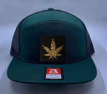 Load image into Gallery viewer, Cannabis Skater Hat Green 4 Panel Flatbill Buddha Lid w Handmade Cannabis Patch over your Third Eye  Cannabis - What can we say? It's making a major comeback in the health and healing industry, helping many people wean from their meds and get back their zest for life! (marijuana) ;-)  Buddha Gear
