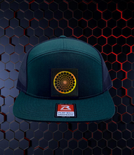 Load image into Gallery viewer, Green flat bill trucker hat by Buddha Gear w Beehive Buds CBD logo