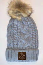 Load image into Gallery viewer, Yoga Wear Buddha wear Plush Grey, Blanket Lined Cable Knit, Pom Pom Beanie with Unicorn, Om, Phoenix, Namaste, Lotus, Tree of Life, Moons, Infinite Heart or Cristian Fish/ichthus, Buddha and more...  Buddha gear Buddha Beanies