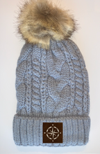 Load image into Gallery viewer, Buddha Yoga Wear Buddha gear Plush Grey, Blanket Lined Cable Knit, Pom Pom Beanie with Unicorn, Om, Phoenix, Namaste, Lotus, Tree of Life, Moons, Infinite Heart or Cristian Fish/ichthus, Buddha and more...  Buddha Beanies