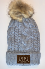 Load image into Gallery viewer, yoga wear buddha gear buddha wear Plush Grey, Blanket Lined Cable Knit, Pom Pom Beanie with Unicorn, Om, Phoenix, Namaste, Lotus, Tree of Life, Moons, Infinite Heart or Cristian Fish/ichthus, Buddha and more...  Beanies