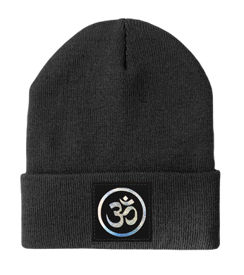 Beanie - Light grey Buddha Beanie with hand made Om Symbol over your Third Eye Buddha Gear yoga meditation hats