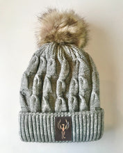 Load image into Gallery viewer, Grey plush pom pom beanie hat with phoenix vegan leather by buddha gear
