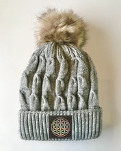 Load image into Gallery viewer, Grey plush pom pom beanie hat with flower of life by buddha gear
