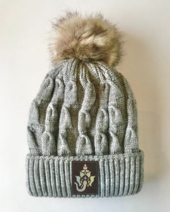 Grey plush pom pom beanie hat with ganesha ganesh  by buddha gear