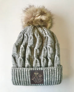 Grey plush pom pom beanie hat with mushrooms vegan leather by buddha gear