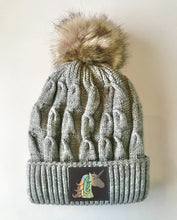 Load image into Gallery viewer, Grey plush pom pom beanie hat with unicorn vegan leather by buddha gear