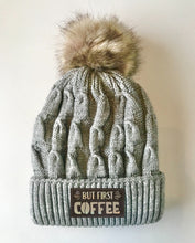 Load image into Gallery viewer, Grey plush pom pom beanie hat with coffee by buddha gear
