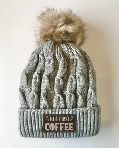 Grey plush pom pom beanie hat with coffee by buddha gear