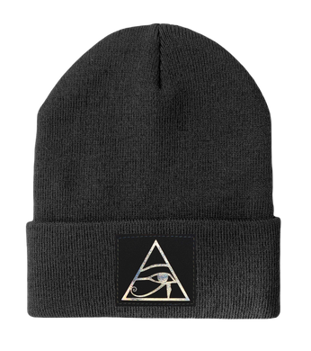 Beanie - Grey Buddha Beanie with all seeing eye of Horus by Buddha Gear yoga hat beanie