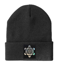 Load image into Gallery viewer, Beanie - Dark Grey w Hand Made Grey/Holographic Silver Vegan Leather Metatron's Cube Patch