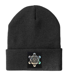 Beanie - Dark Grey w Hand Made Grey/Holographic Silver Vegan Leather Metatron's Cube Patch