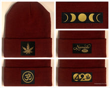 Load image into Gallery viewer, burgundy beanie w golden compass by buddha gear moon namaste lotus om 420