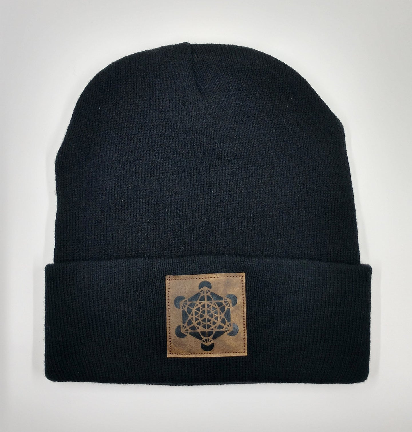 Black Buddha Beanie with handmade Metatron's cube patch over your Third Eye