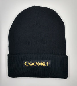 Buddha Beanie with Coexist over your Third Eye  You've seen the symbol everywhere. The symbol of peaceful coexistence on our planet. Something we can all strive for!