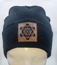 Load image into Gallery viewer, Black Buddha Beanie with handmade Metatron's cube patch over your Third Eye