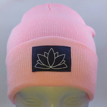 Load image into Gallery viewer, Buddha Beanie with a Lotus over your Third Eye   The lotus has long been regarded as sacred by many of the world's religions, especially in India and Egypt, where it is held to be a symbol of the Universe itself. Rooted in the mud, the lotus rises to blossom clean and bright, symbolizing purity and resurrection