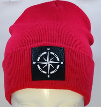 Load image into Gallery viewer, Find your true North with your Compass Buddha Beanie! Wearing a compass over your third eye is a great that it's never too late in life to change or alter your course.  The compass points in four directions; North, South, East and West, harkening back to sailors and ships traversing the stormy seas on their way home from a long journey. The compass holds meaning for a traveler, being a symbol for guidance, the ability to point you in the right direction.