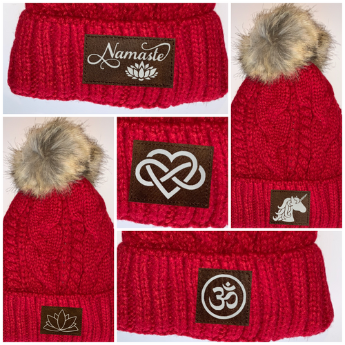 Buddha gear Red Plush Pom Pom Beanie with Unicorn, Om, Phoenix, Namaste, Lotus, Tree of Life, Moons, Infinite Heart or Cristian Fish / ichthus. Buddha Wear Buddha beanie