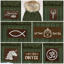 Load image into Gallery viewer, Buddha Gear Plush Olive, Blanket Lined Cable Knit, Pom Pom Beanie with Unicorn, Compass Om, Phoenix, Namaste, Lotus, Tree of Life, Moons, Infinite Heart or Cristian Fish/ichthus  Buddha Wear Buddha Beanies