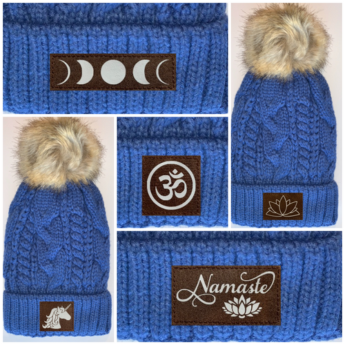 Buddha Gear Plush Blue, Blanket Lined Cable Knit, Pom Pom Beanie with Unicorn, Om, Phoenix, Namaste, Lotus, Tree of Life, Moons, Infinite Heart or Cristian Fish/ichthus Buddha Wear Buddha Beanies