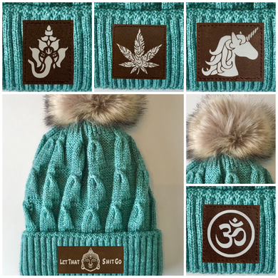 Buddha Gear Mint Plush Pom Pom Beanie with Moons, Namaste, Infinite Love, Unicorn, Tree of Life, Coffee, Om, Cannabis, Utah Mountains, Ganesha, Om, yoga, love, beanies, buddha clothing yoga wear