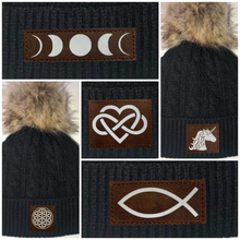 Load image into Gallery viewer, Buddha Gear Sacred Geometry Black Plush Baby Pom Pom Beanie with Om, Lotus, Moons, Tree of Life, Unicorn, Namaste, Infinite Love, Flower of Life & Ichthus. All Vegan, Hand Made Patches. Yoga wear